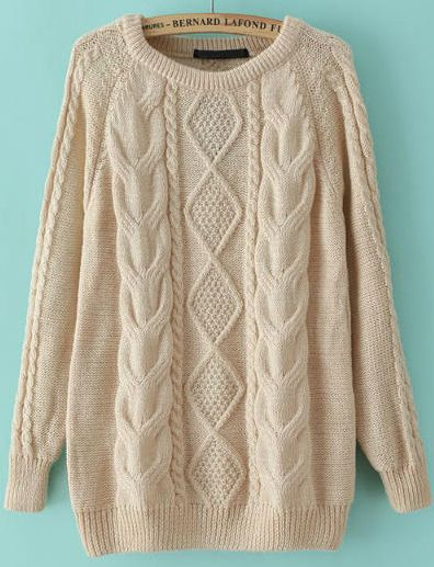 Such a cute and nice sweater!!Perfect comfy fit!  Beige Long Sleeve Cable Knit Loose Sweater ‖ SHEIN Sweaters