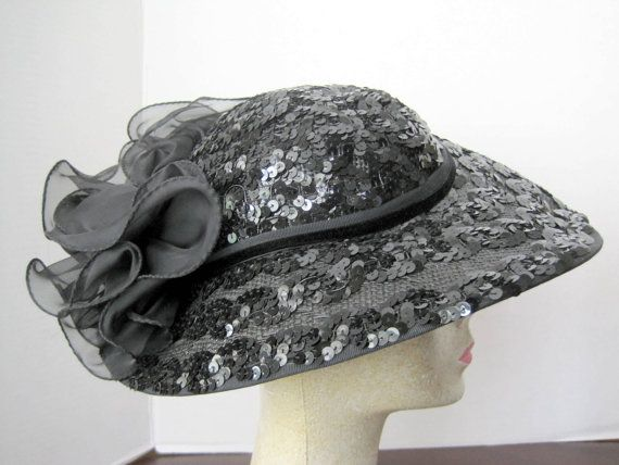 Black Hat Sonni Garden Party Sequined Wide Brim