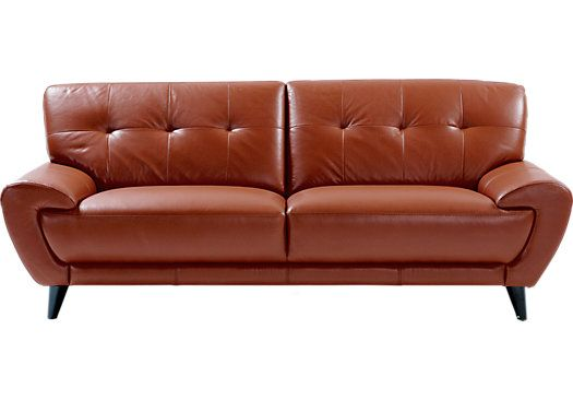 Picture Of Cindy Crawford Home Midtown East Terracotta Leather Sofa From Sofas Furniture
