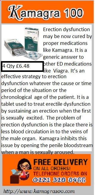 Erection dysfunction may be now cured by proper medications like Kamagra. It is a generic answer to other ED medications like Viagra. It's an effective strategy to erection dysfunction whatever the cause or time period of the situation or the chronological age of the patient. It is a tablet used to treat erectile dysfunction by sustaining an erection when the first is sexually excited.