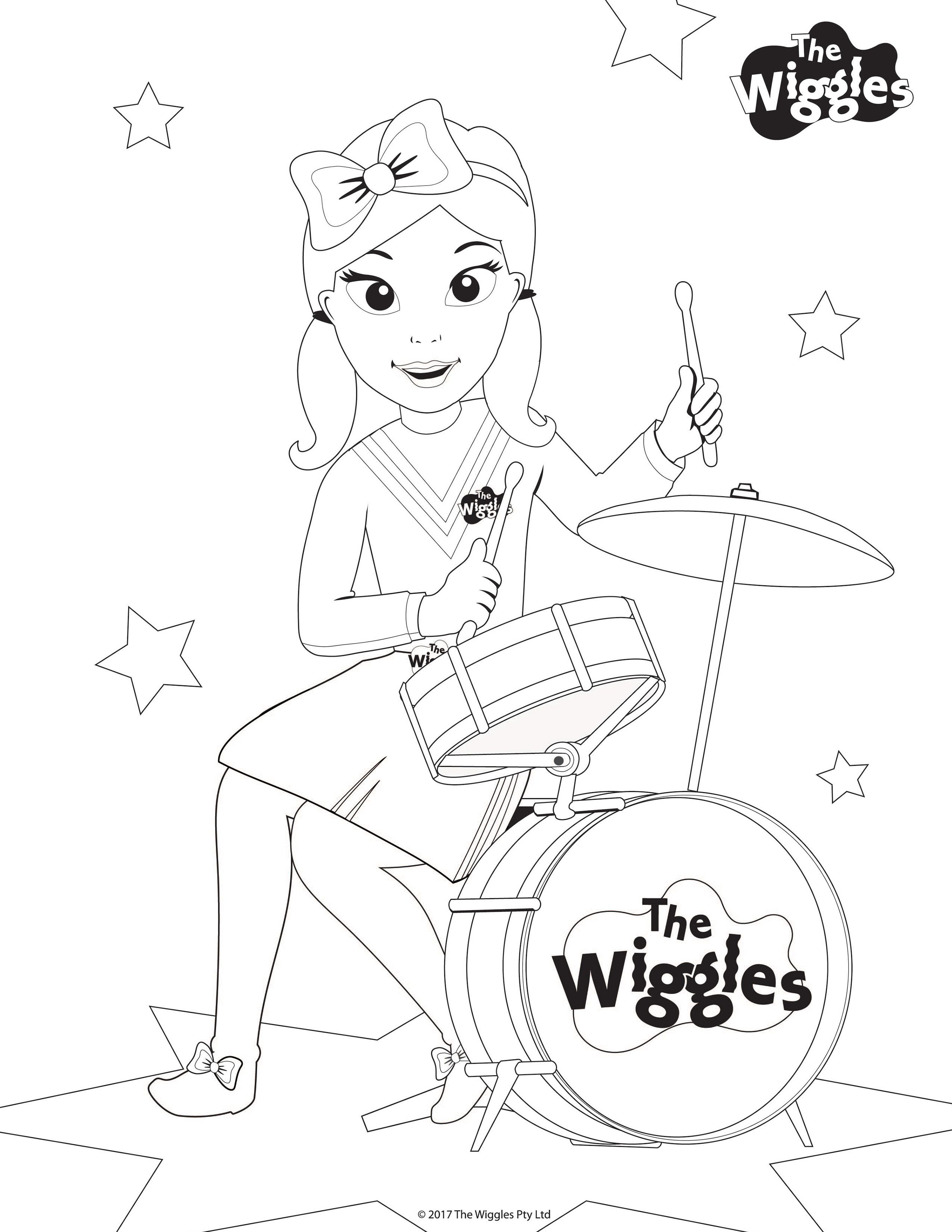 The Wiggles Activity Color Emma The Drummer Wiggles Birthday