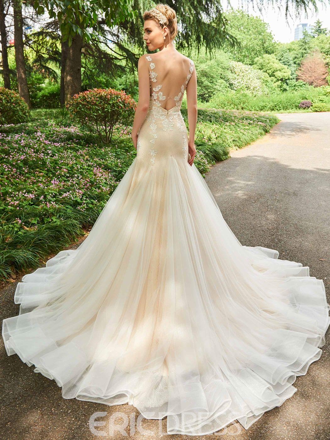 Ericdress V Neck Backless Mermaid Appliques Color Wedding Dress Lace Mermaid Wedding Dress Wedding Dresses Wedding Dresses Lace [ 1400 x 1050 Pixel ]