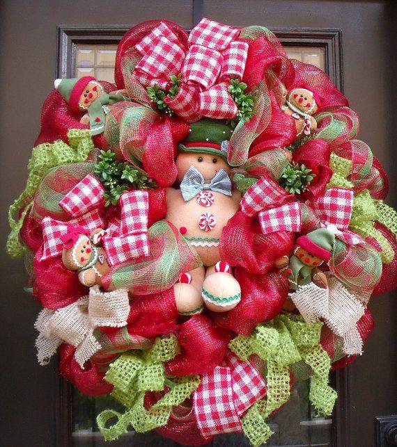 Gingerbread Wreath, Gingerbread Man, Deco Mesh Christmas Wreaths