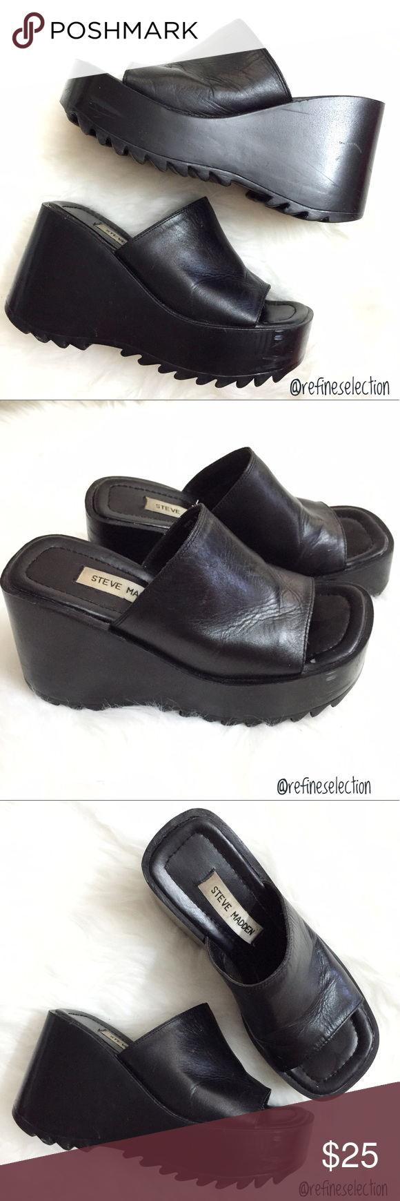 56a47ec305c1 Steve Madden Pepe Leather Chunky Platform Sandals Pre-loved in fair  condition