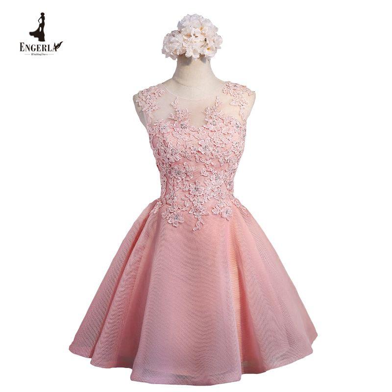 Barato Engerla apliques cristais vestidos de baile curto rosa lindo ...