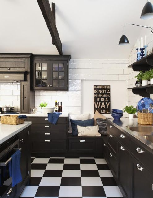 Industrial Chic With Black White Checkerboard Tile Flooring Black