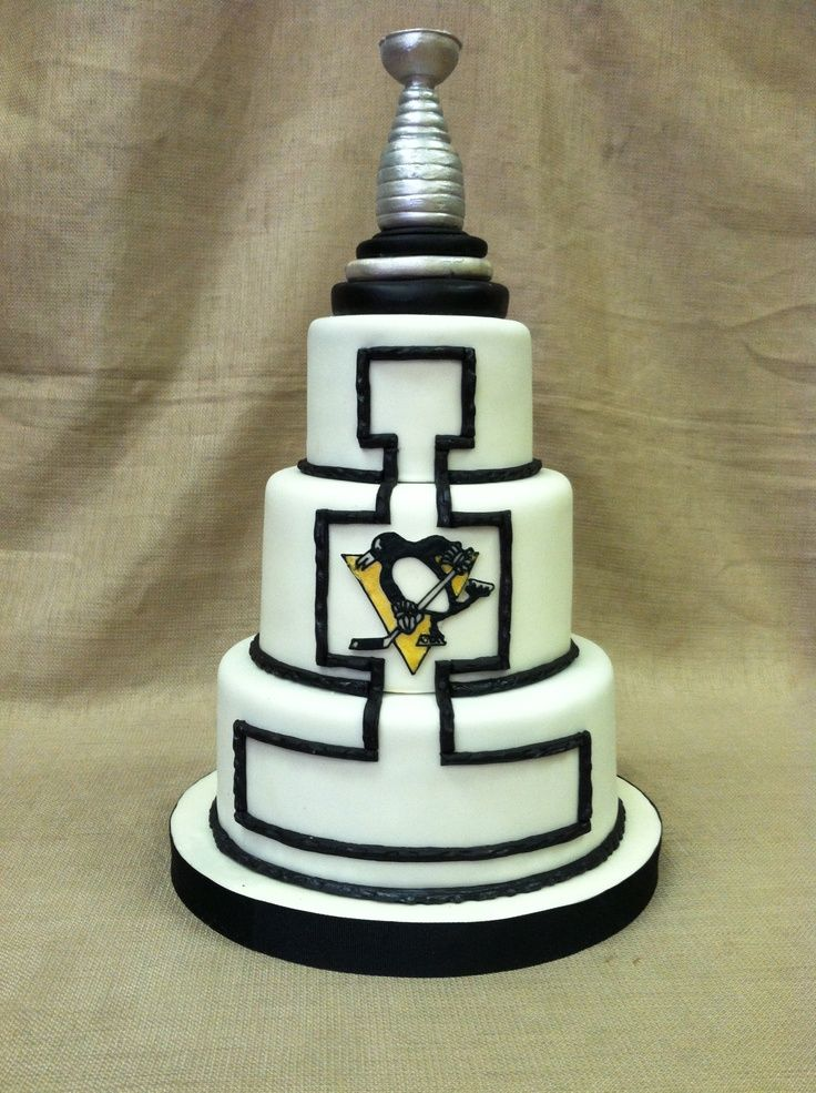 stanley cup wedding cake topper pittsburgh penguins cake with a stanley cup topper 20489