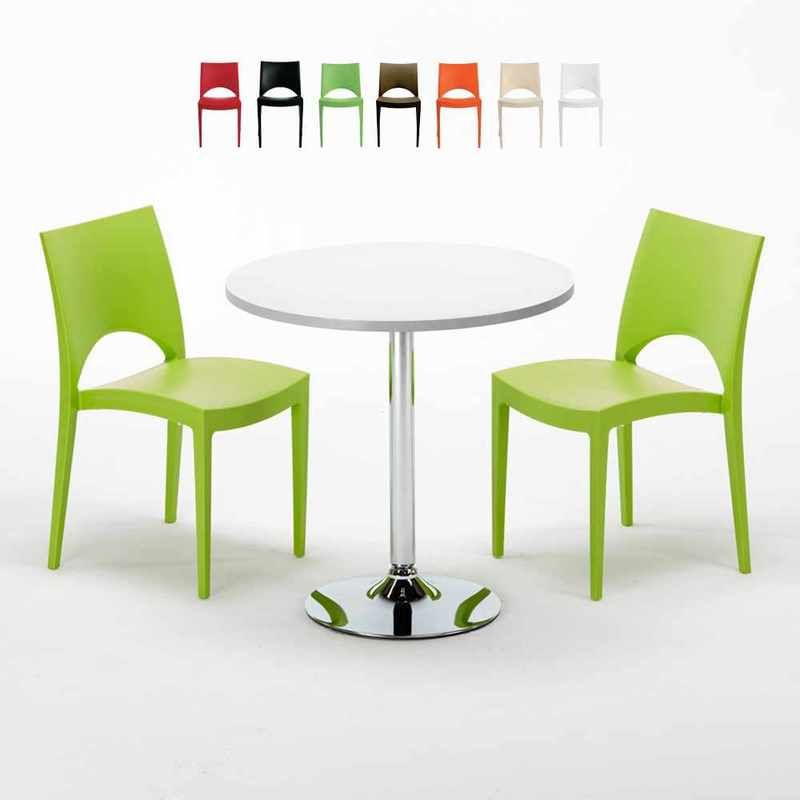 Table Ronde Blanche 70x70cm Avec 2 Chaises Colorées Grand ...