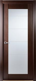 Contemporary African Wenge Interior Single Door Lined Frosted Glass    Contemporary   Interior Doors   Tampa