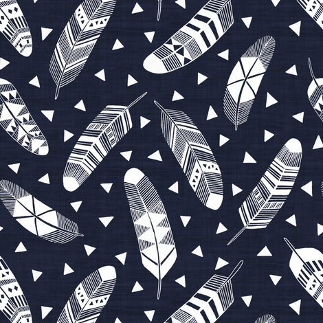 Navy Blue - White Feathers fabric by kimsa on Spoonflower - custom ...