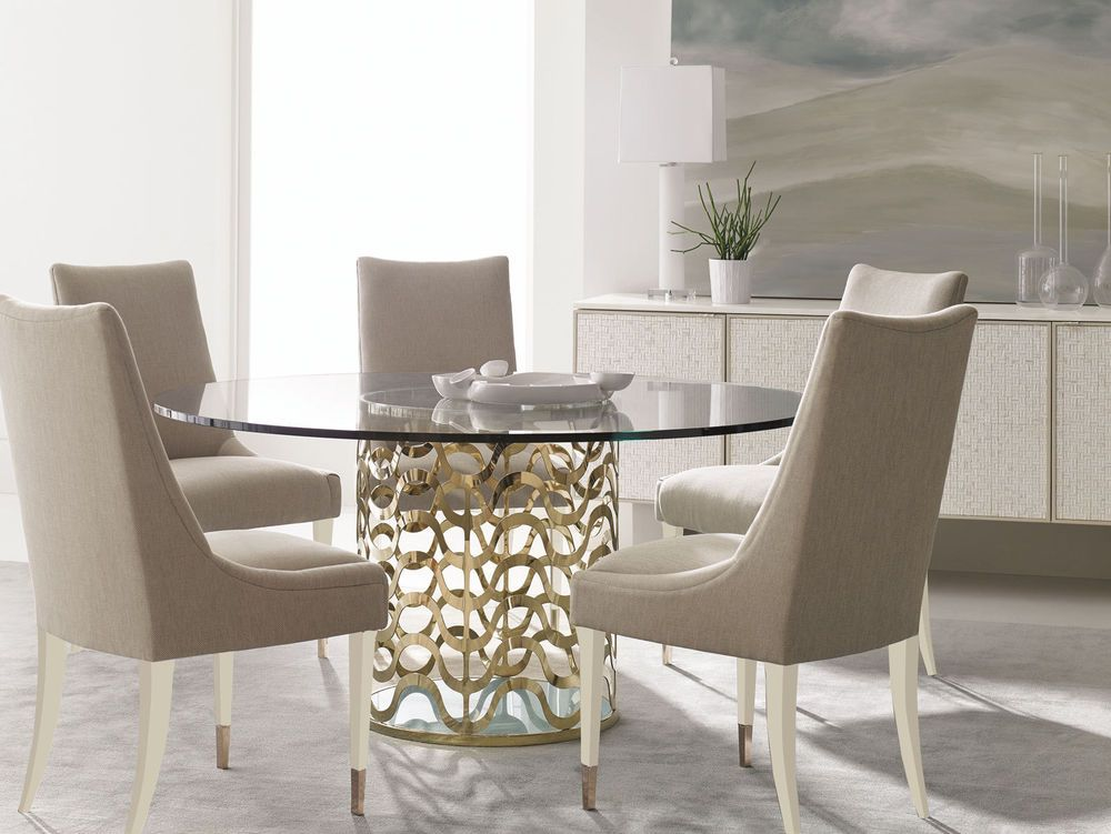 Valera 7pcs New Contemporary Dining Room Gold Round Glass Top Table Chairs Set Imp Contempo Round Dining Room Apartment Dining Room Glass Dining Room Table