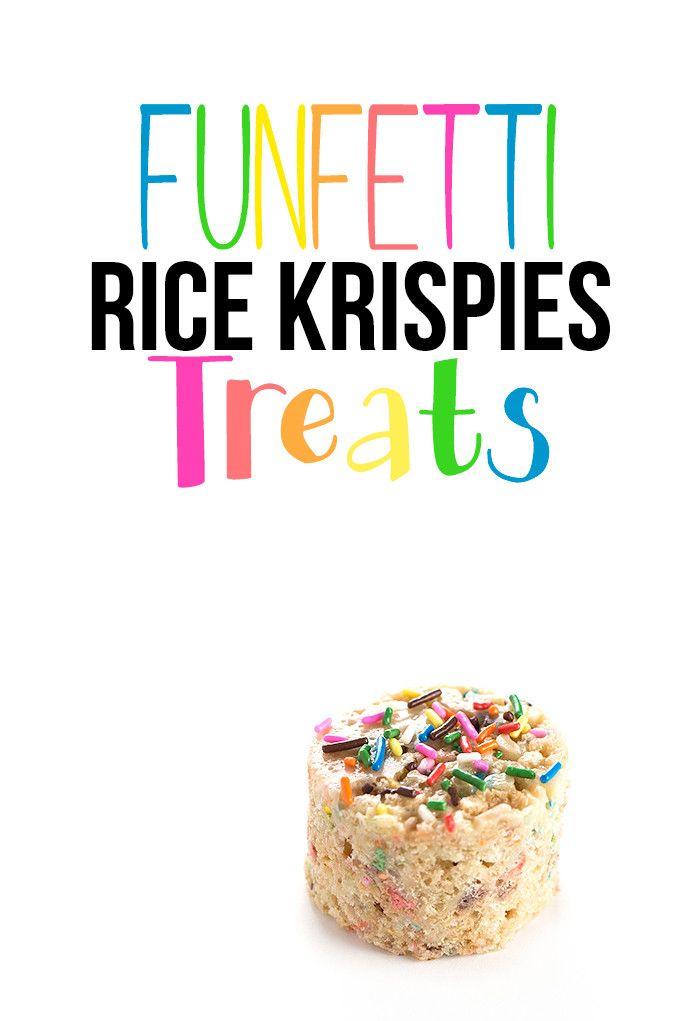 Funfetti Rice Krispies Treats | Cake mix rice krispies treats #birthday #ricekrispies @sweetasacookie