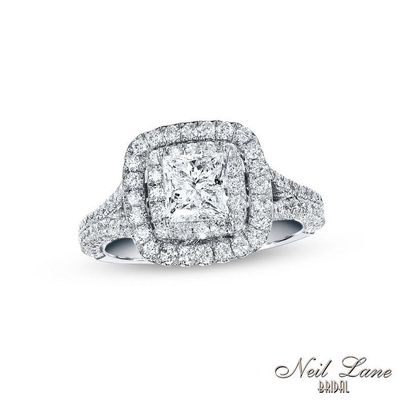 Bon Neil Lane Bridal® Collection 2 CT. T.W. Princess Cut Diamond Frame  Engagement Ring