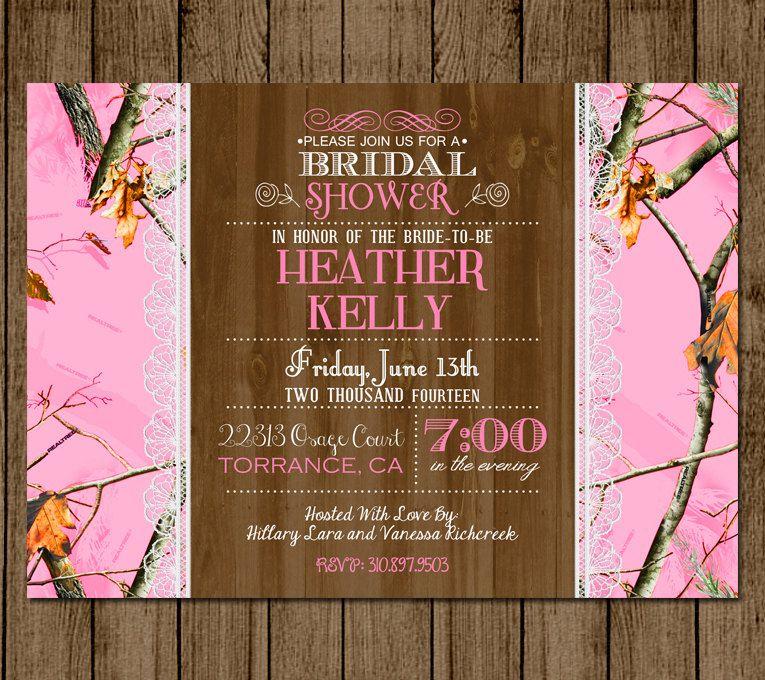 Hunting Camo Wedding Ideas: Customized Camo Bridal Shower Invitation Hot Pink Camo