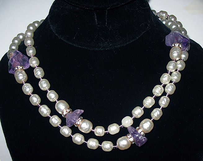 """Miriam Haskell signed piece - baroque pearl and amethyst 36"""" necklace."""