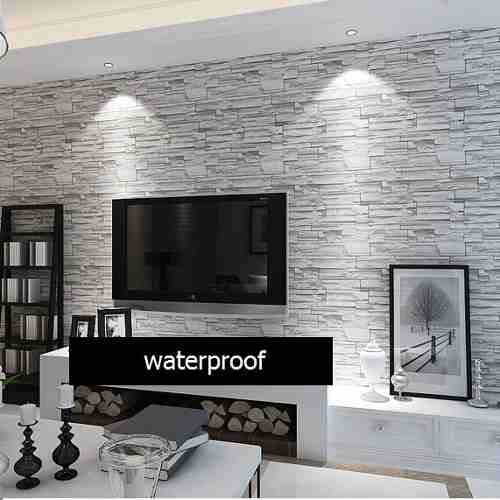 wallpaper behind tv | Film O Papel Adhesivo Para Empapelar Paredes - Simil Piedra - $ 240,00 ...