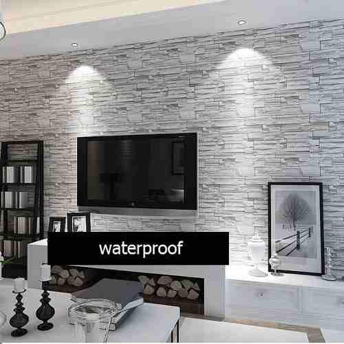 wallpaper behind tv | Film O Papel Adhesivo Para Empapelar Paredes - Simil Piedra - $ 240,00 ...