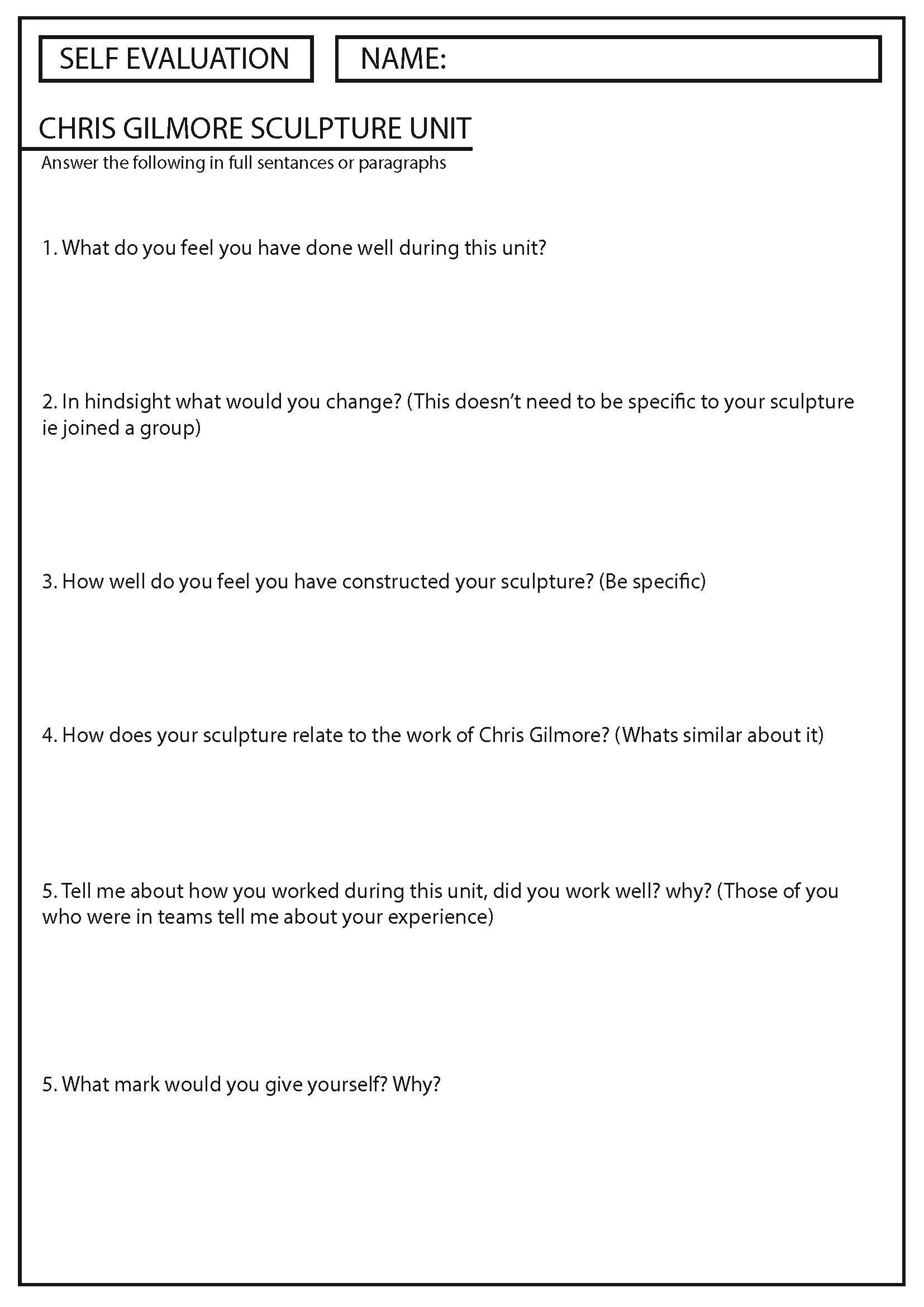 Self Reflection Sheet For A Chris Gilmore Yr10 Unit