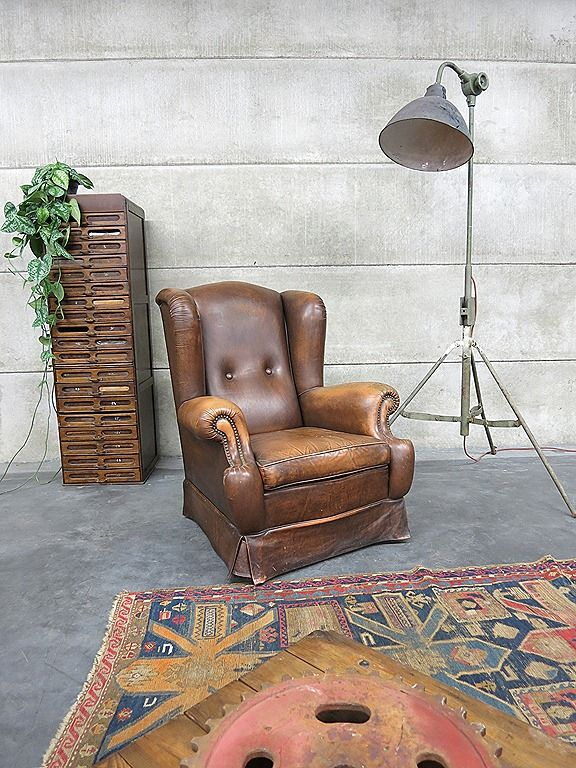 Leren Lounge Fauteuil.Vintage Leren Lounge Fauteuil Wingback Chair Leather A Ware