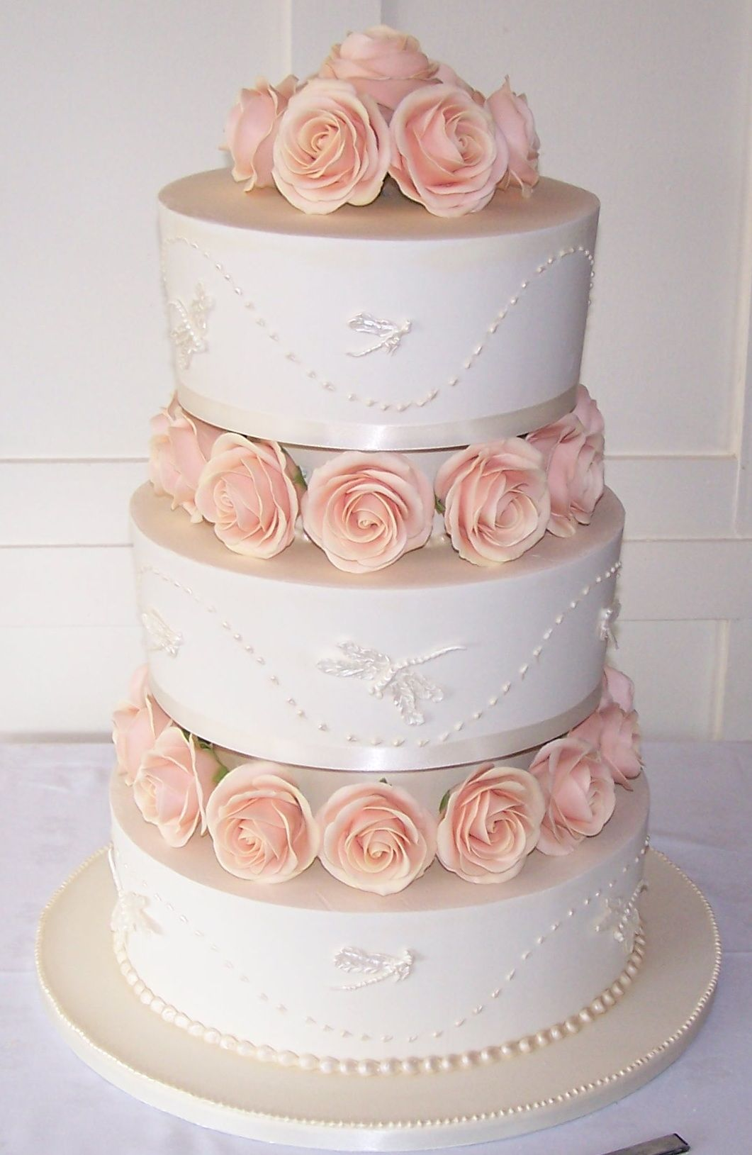 3 Tier Wedding Cake With Sugar Roses And Royal Icing