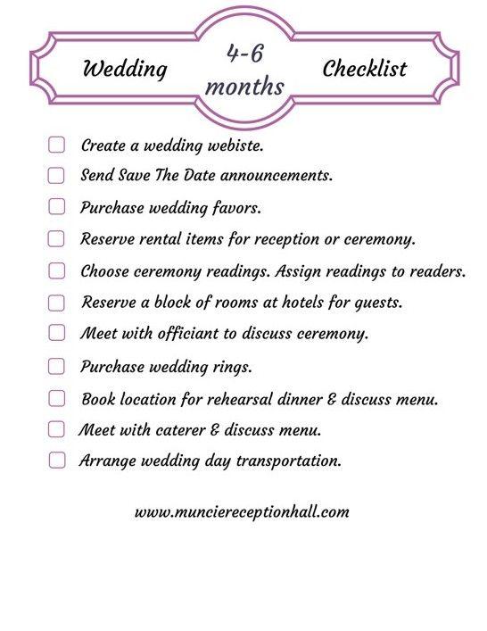 Wedding Planning Checklist 4 6 Months