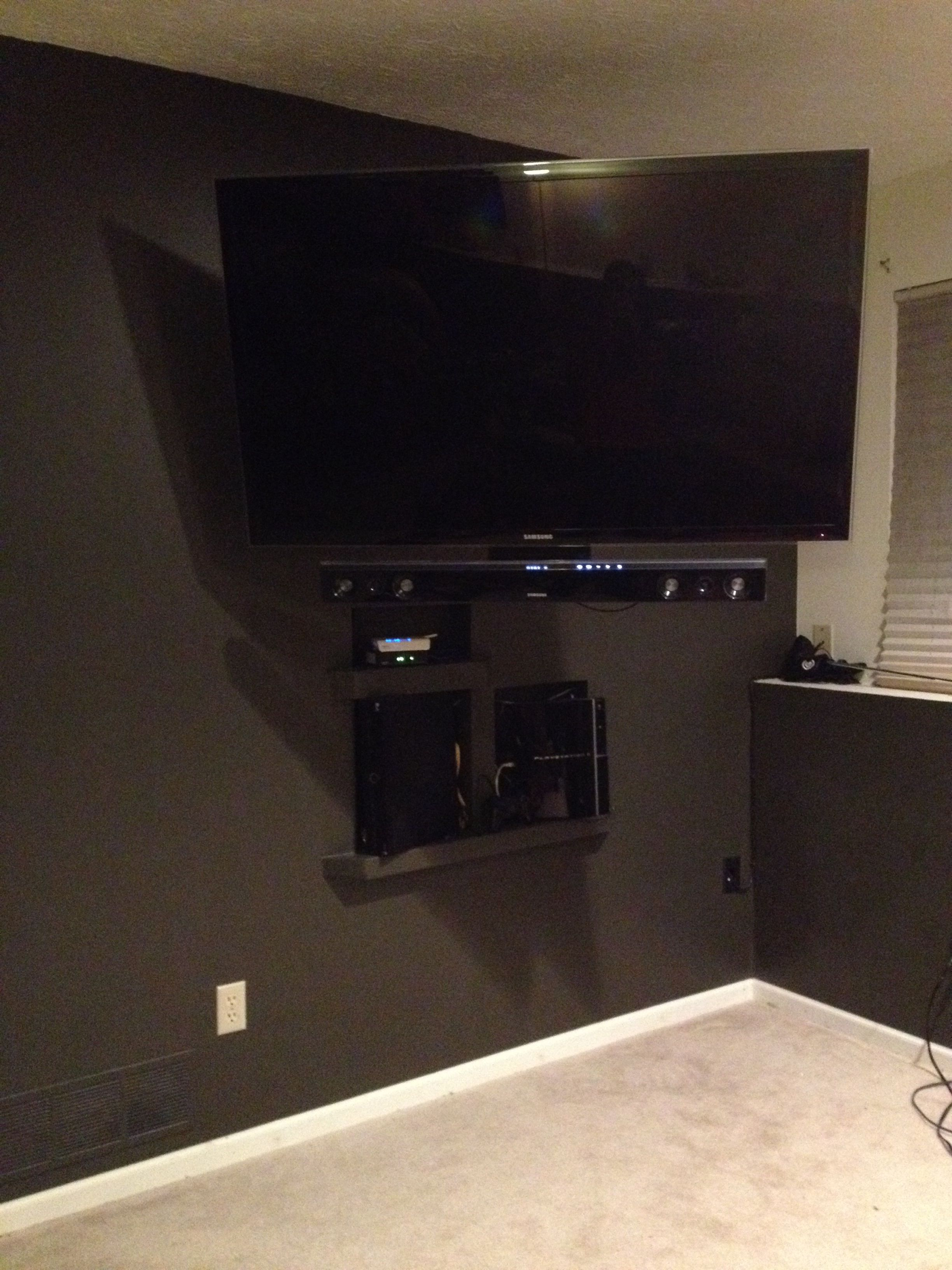 In Wall Shelving For Game Systems Cable Box Modem Etc Wires Accessible Via Access Panel In Adjoining Room Access Panel Cable Box Wall Shelves