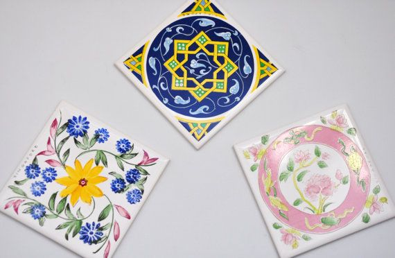 Set Of 3 Decorative Ceramic Tiles From Singapore Coaster Art Project Accent Piece Kitchen A Coaster Art Decorative Ceramic Tile Ceramic Tiles