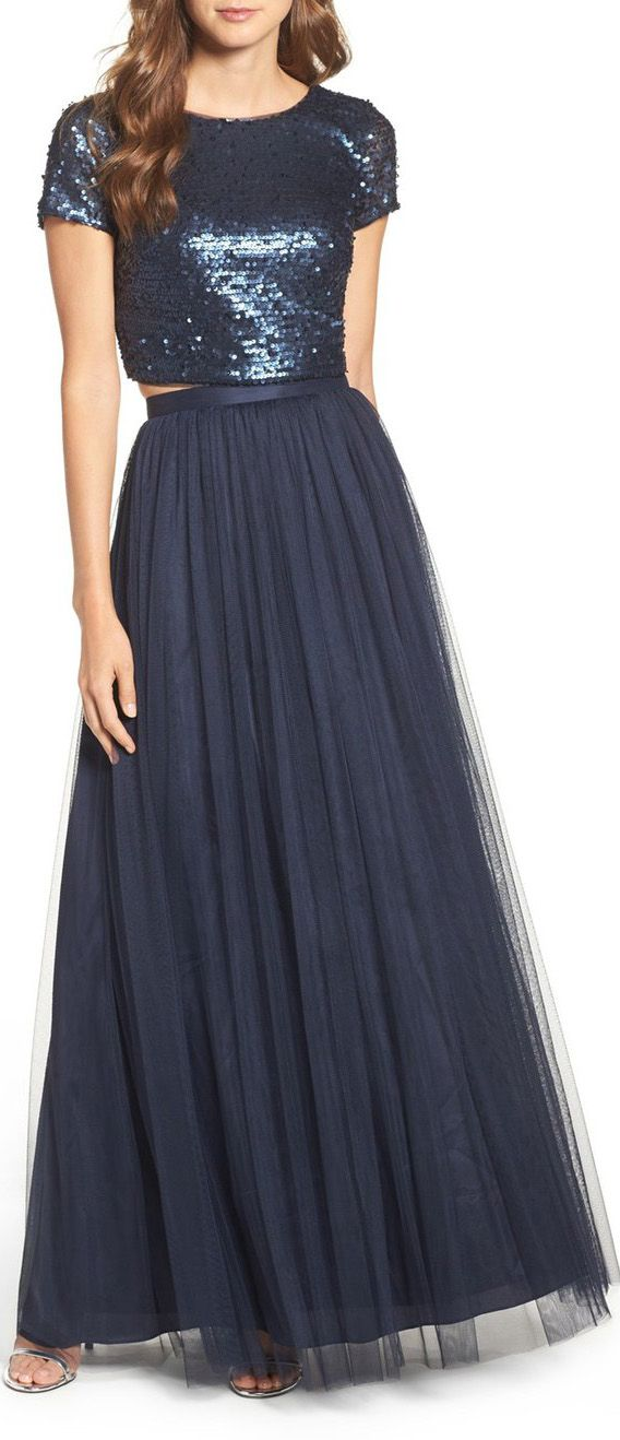 Two Piece Cap Sleeves Sequin Tulle Long Bridesmaid Dress Dark Navy ...