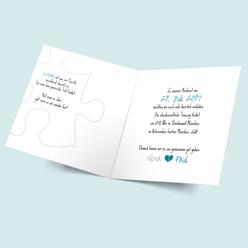 Einladungen Für Eure Hochzeit Mit Modernen Puzzleteilen U0026 Herzen. Gestaltet  Die Hochzeitseinladungen Ganz Nach Euren Vorstellungen Hier Im  Online Designer.