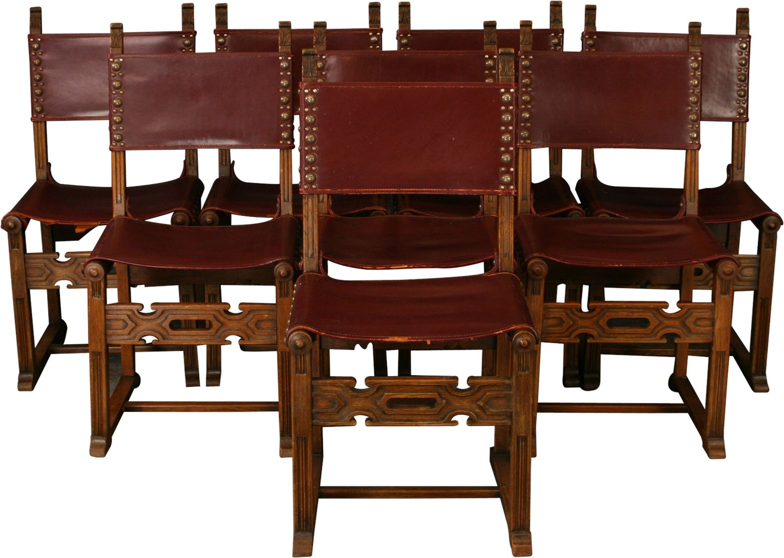 Superb Set 8 Vintage Dining Chairs Spanish Mission 1930 Carved Oak Creativecarmelina Interior Chair Design Creativecarmelinacom
