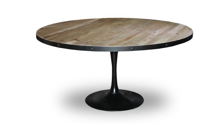 Table salle a manger indus bois pied metal cogolin 3 - Table salle a manger ronde design ...
