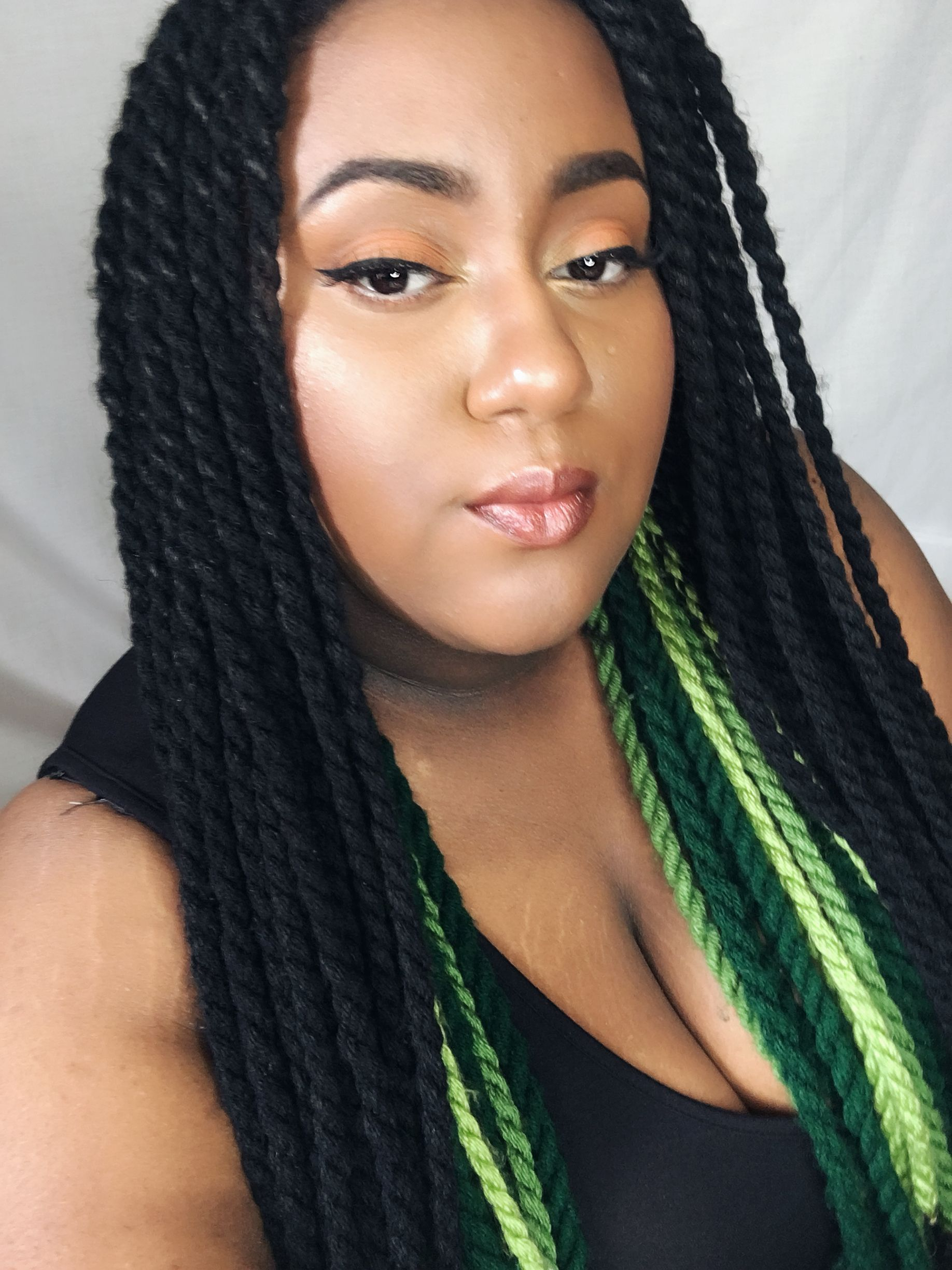 Green And Black Yarn Twists Edgy Hair Yarn Twist Yarn Braids