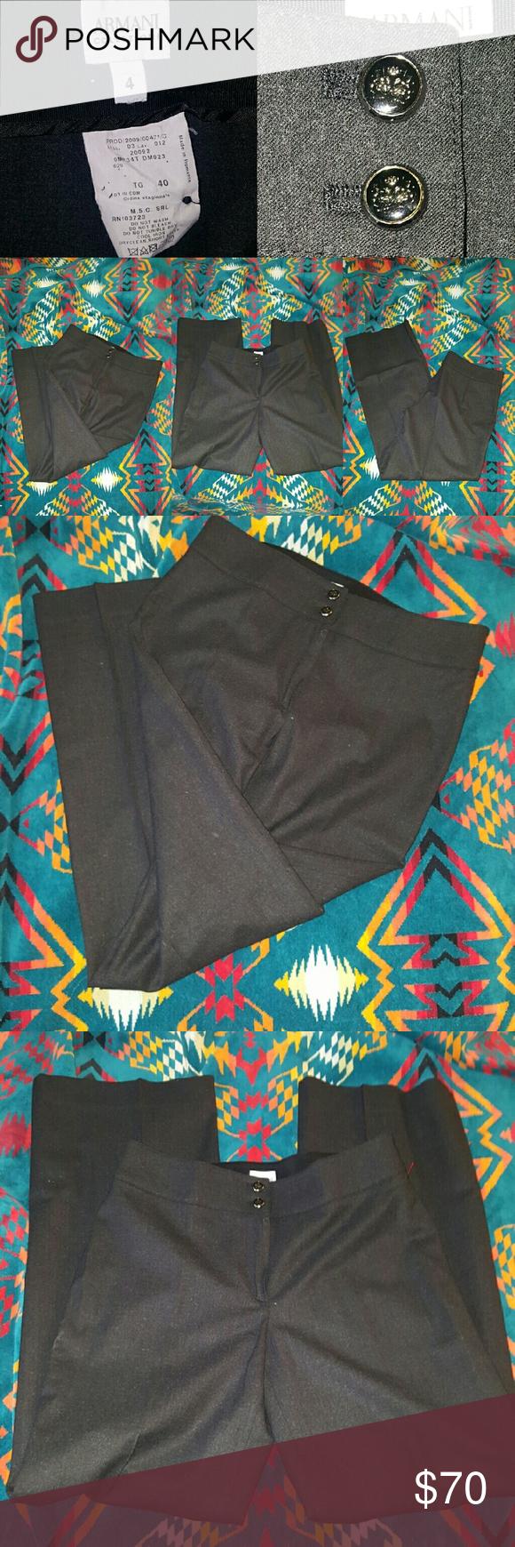 ARMANI COLLEZIONI PANTS 4 ITALY BLACK DRESS BEAUTIFUL ARMANI COLLEZIONI HIGH QUALITY LUXURY ORIGINAL PRICE $900 Armani Collezioni Pants Trousers