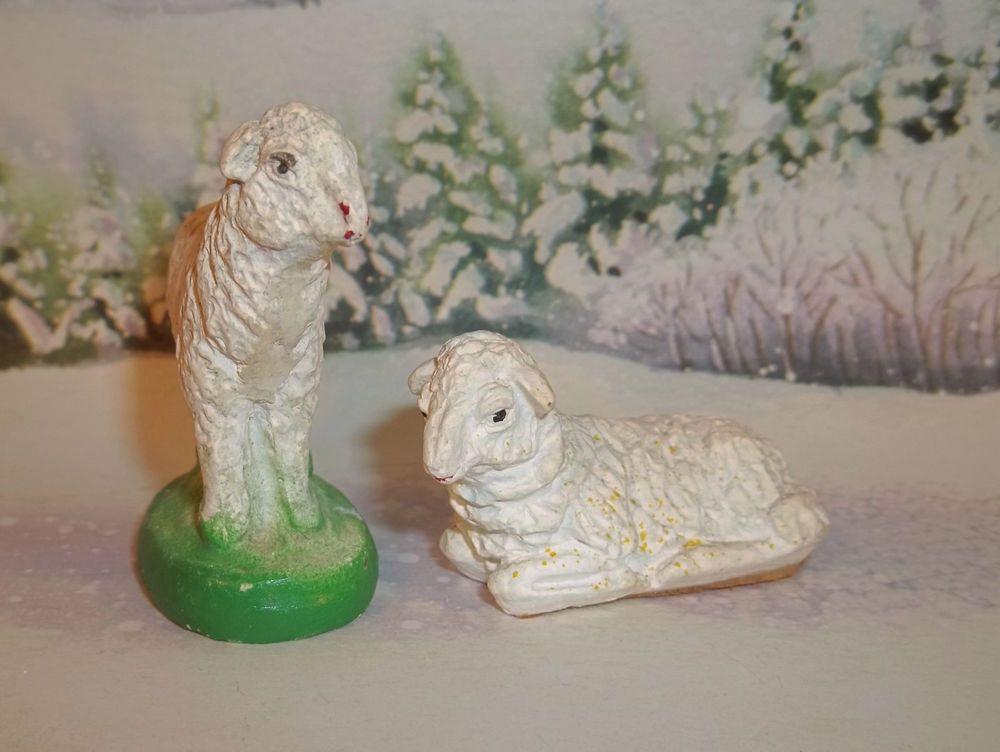 Vintage Lot of 2 Nativity Animal Standing & Laying SHEEP Chalk Ware C165