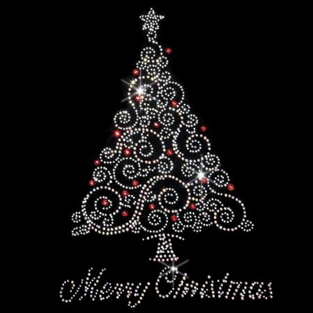 Merry Christmas With Snowflake Crystal Christmas Festive iron on applique