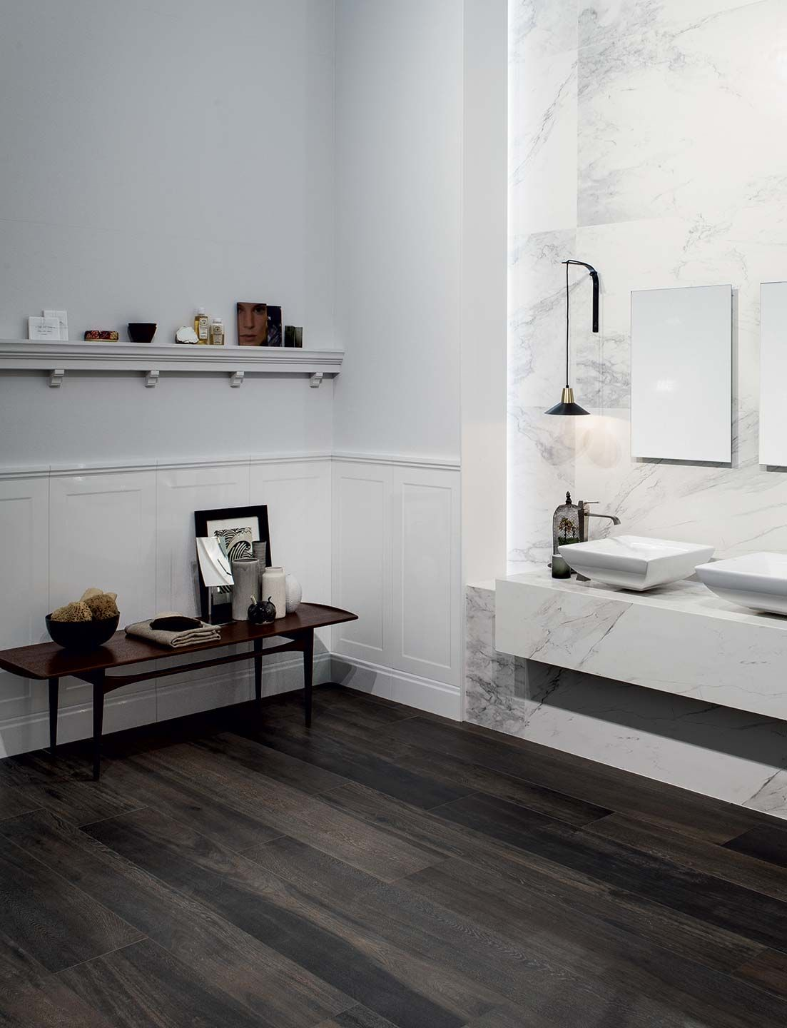 Charmant Look At This Lovely Wainscoting For Your Bathroom. Point It Out With A  Contrast Dark Wood Effect Floor And You Have A Unique Bathroom Style: Wooden  Tile Of ...