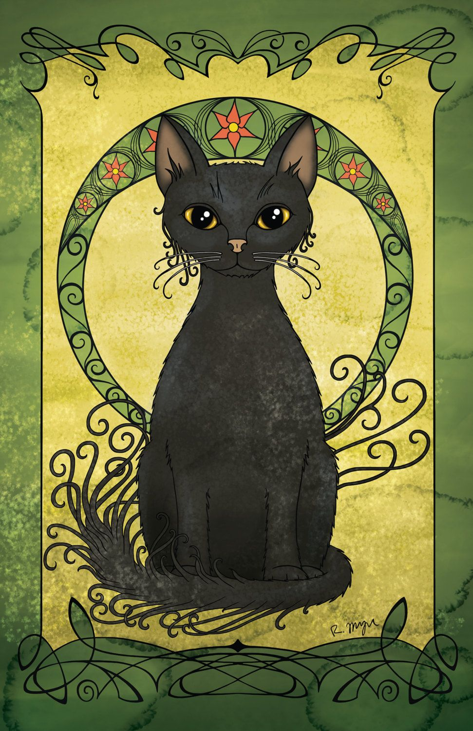 Art Nouveau Poster, Black Cat Decor, Wall Art, Home Decor, Cat Print ...