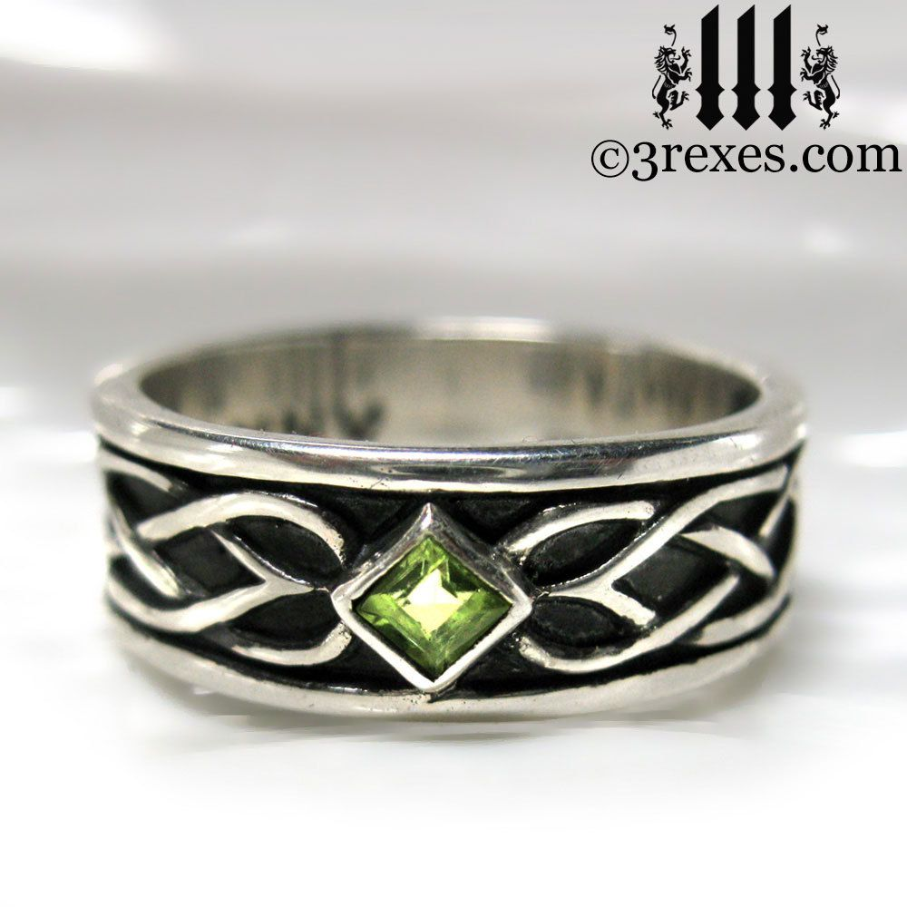 Wedding Rings Of Medieval Royalty 3 Rexes Jewelry Celtic Knot Silver Soul Ring With Green Peridot S: Meval Royal Wedding Rings At Websimilar.org