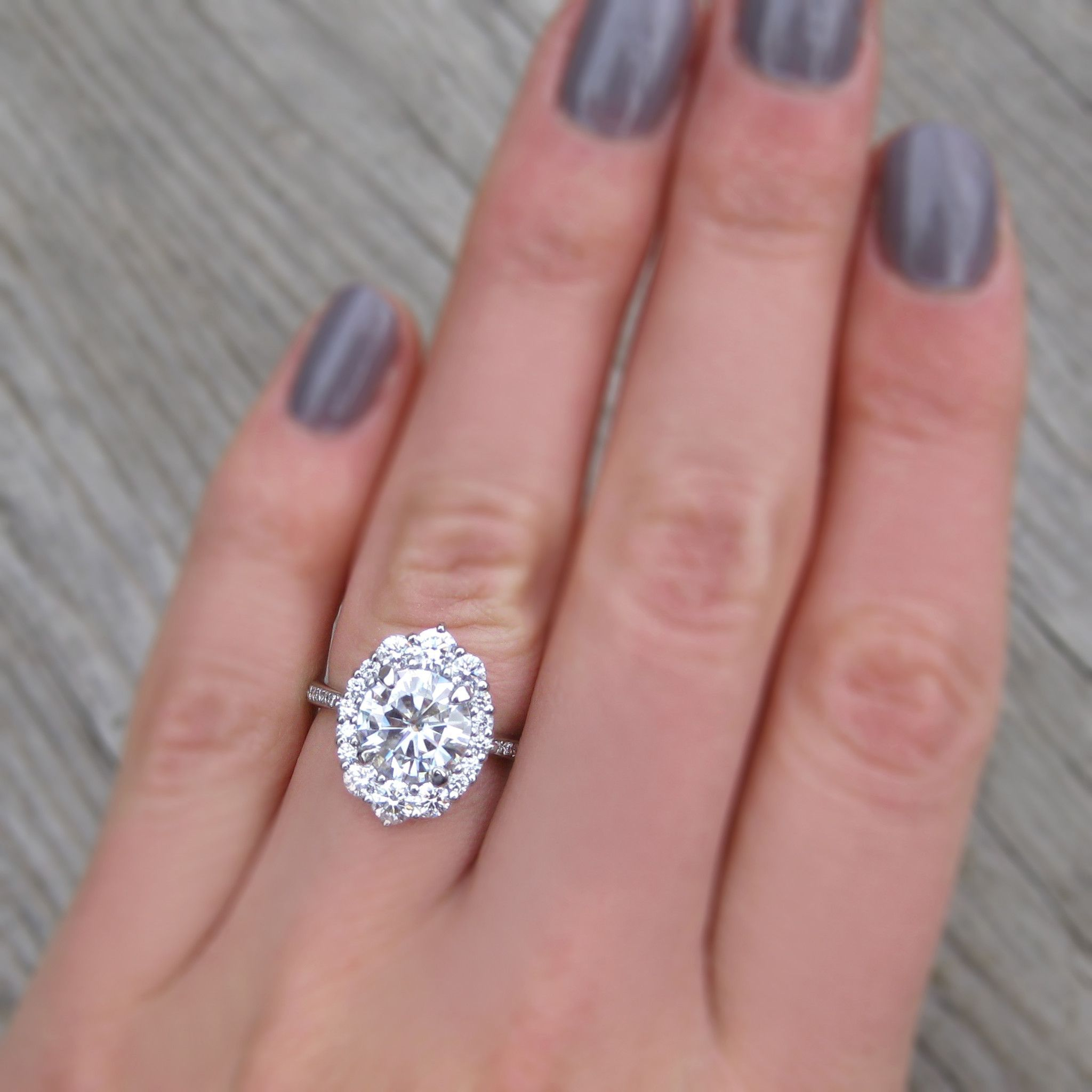 Forever One™ or Supernova™ Moissanite Engagement Ring with Diamond ...