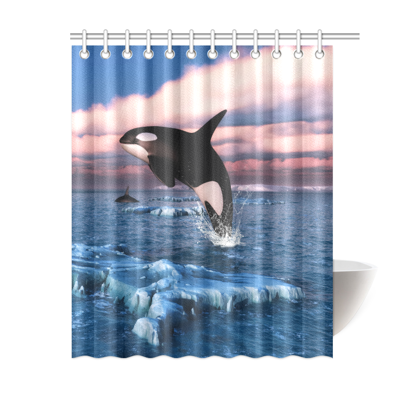 Killer Whales In The Arctic Ocean Shower Curtain 60x72