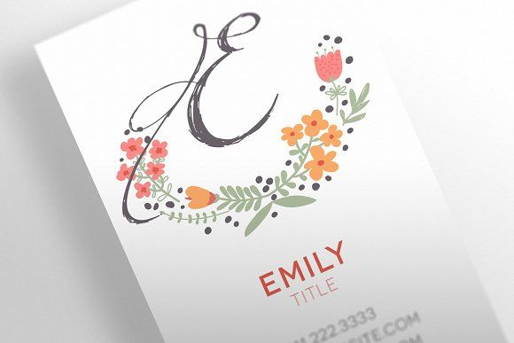 The floral business card template card templates business cards the floral business card template templates 5 page editable indesign document customizable business card cmyk 300 dpi resolution 375 by socalarts wajeb Gallery