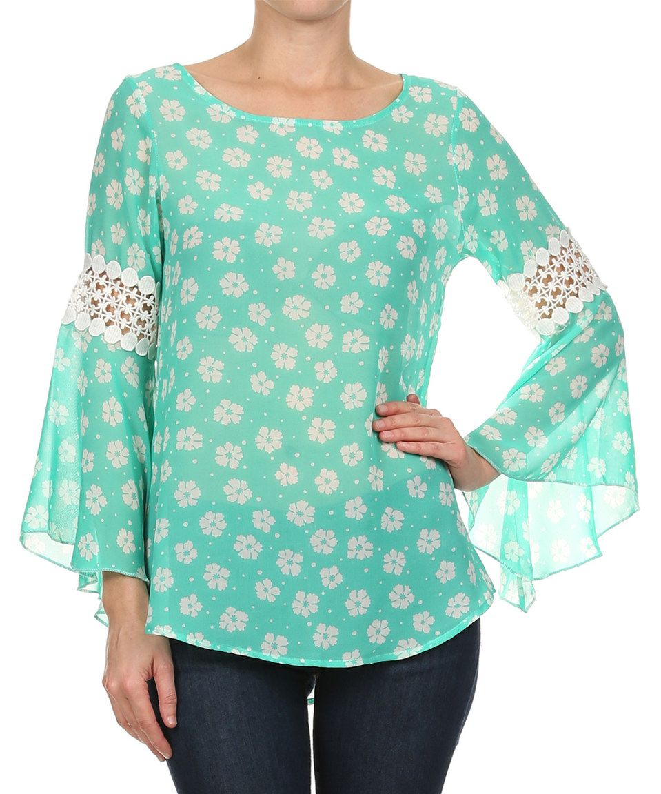 Another great find on #zulily! Mint Daisy Flare-Sleeve Top by J-Mode USA Los Angeles #zulilyfinds
