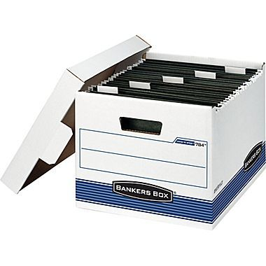 Bankers Box STOR//FILE Med-Duty Letter//Legal Storage Boxes Locking Lid White//Blue