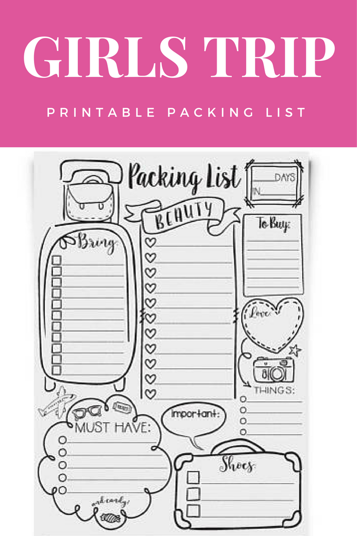 doodle travel packing list printable full page checklist edit