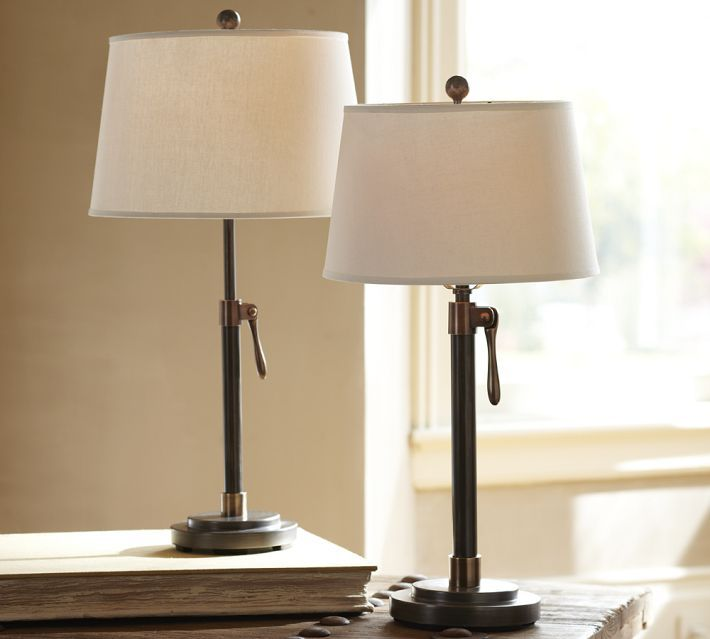 Sutter adjustable lever table bedside lamp base pottery barn bedside table lampsbedroom