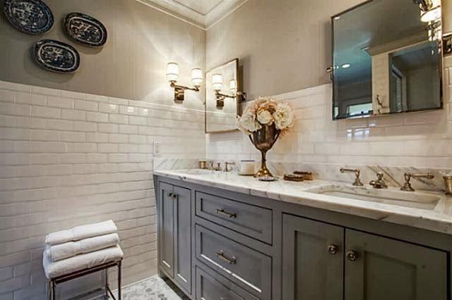 Beachcrest Home Gotha 3 Light Vanity Light Reviews: Subway Tile Walls. Marble Floors. Gray Painted Vanity