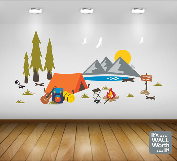 Camping Tent With Mountain Scene Vinyl Wall Decal   Bedroom Or Playroom  Wall Decal Part 89