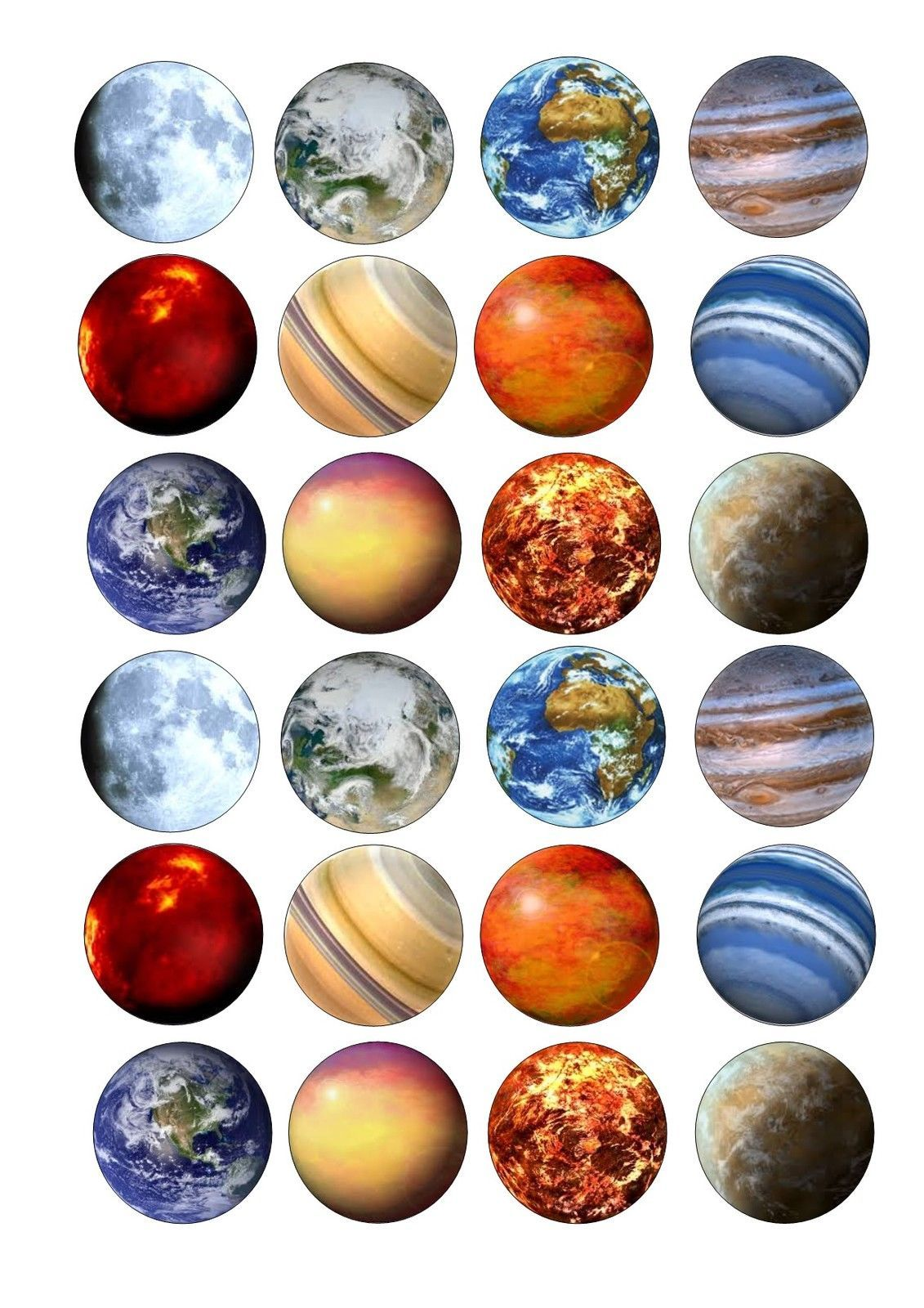 24 Edible cake toppers decorations Space Solar system ...