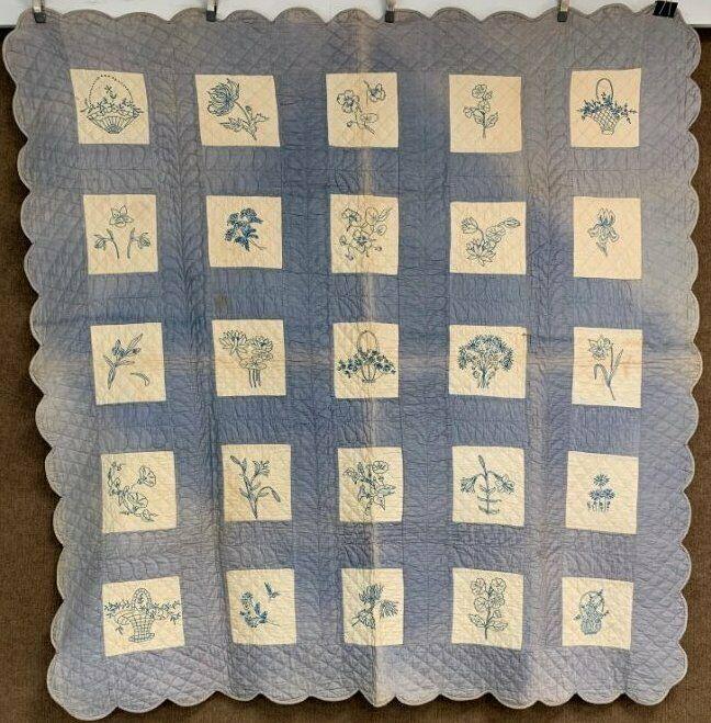 Wedding Flowers Lancaster Pa: Farmhouse PA C 1920-30s Flower Sampler QUILT Vintage