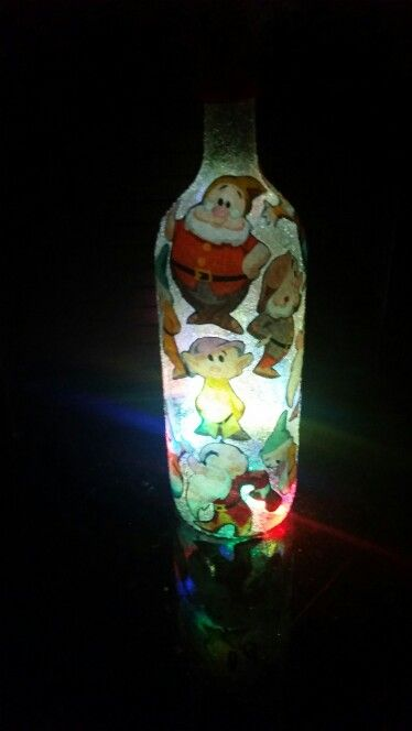 Seven Dwarves Light Up Wine Bottle   If anyone wants one of these done send me an e-mail at Ashleydunai@gmail.com